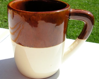 40s roseville stoneware coffee mug tall and heavy two tone for Heavy ceramic coffee mugs