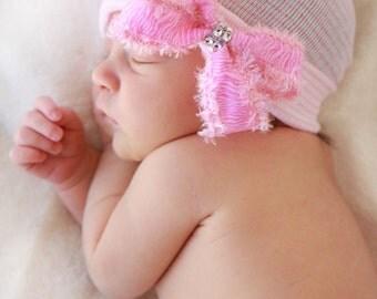 First Bow Newborn Hospital Hat Fuzzy Pink Zebra Rhinestone center newborn hospital beanie newborn girl hat newborn hospital bow hat with bow