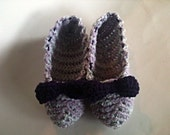 Womens' Mint-Plum Slippers, small, hand-crocheted, warm & dual yarn for durability