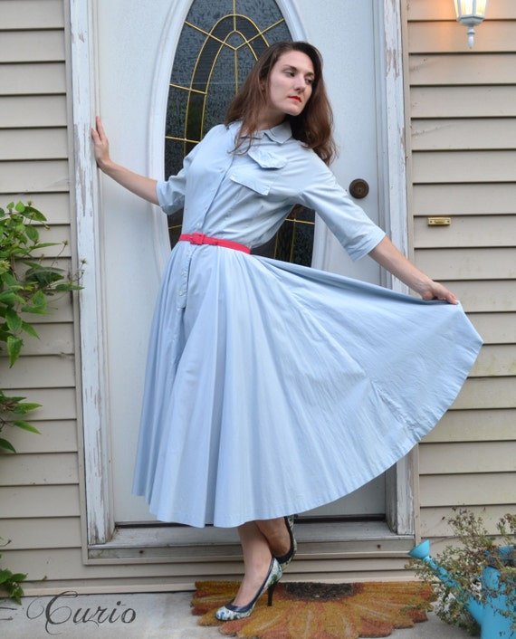 50's Shirtwaist Dress Blue Cotton Circle Skirt / Marshall Fields Pocket Monogram