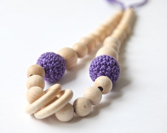 Simple nursing rings necklace. Girls crochet necklace. Mommy and baby teething necklace.