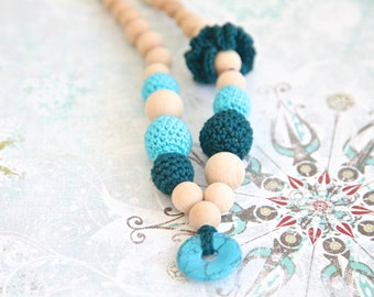 Turquoise & dark hunter green crochet necklace.  Nursing teething necklace with natural/gem stone.