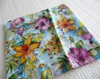 Floral napkins, decoupage Napkins, floral decoupage napkins, paper napkins, decoupage paper, floral pattern, blue napkins,