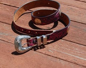 Funky hot pink TOOLED leather belt western cowgirl southwest AMERICANA 36 USA