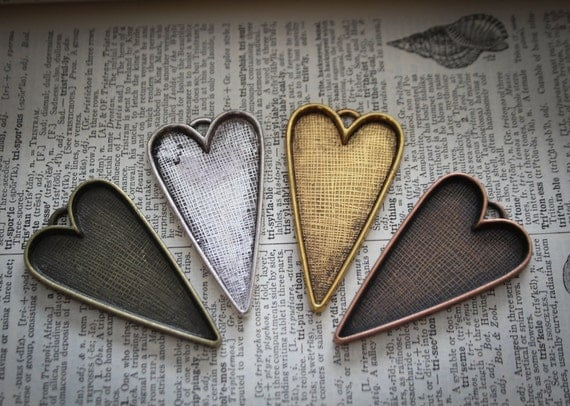 6 Heart Pendant Trays blank Antique Silver or Bronze Bezels Settings Approx 24 x 48 mm Photos Charms LEAD FREE