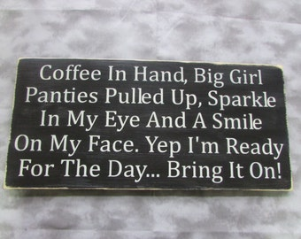 funny Inspirational sign, coffee sign Measures, made of wood, hand painted, distressed, primitive home decor