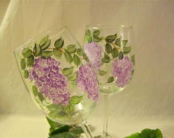 Lilacs hand painted on  wine glass