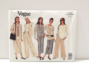 Jacket Vest Tunic Blouse Skirt Pants Vintage Vogue Sewing Pattern FF uncut 90s Annie Hall wrap skirt Vogue 1174 Size 8 10 12 Free US Ship