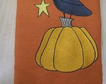 Raven and Pumpkin Halloween Towel - EXTRA STOCK