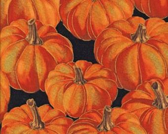 Fat Quarter, Autumn Fauna by Benartex, Harvest Fabric, Pumpkin Fabric, Autumn  Fabric, Metallic Fabric, Pumpkin Russet, 01931