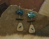 Abalone Shell Dove Earrings with Acacia Tree Seeds and Decorative Carved Bone with Turquoise