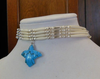Turquoise Flying Bird Pendant Choker with Fresh Water Pearls and Bone Hairpipe beads with Sterling Silver Beads and Findings