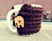 Cup Cozy Knitted Mug Warmer Coffee Brown Elephant Autumn Button Loop Tea Hot Cocoa Sleeve Cover Knit Crochet Orange
