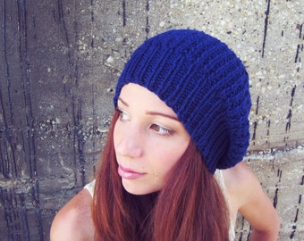 Knitted Slouchy Hat Dark BlueUnisex Mens Womens Spring Summer Beanie Crochet Ribbed Cap