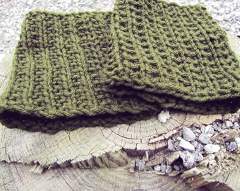 Womens Boot Cuffs Knit Boot Toppers Ladies Boot Socks Olive Green Legwear Knitted Boot Cuffs