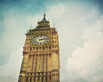 Big Ben photograph. London, England print. Elizabeth Tower, Westminster. Travel photography, urban decor.