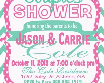 Baby, Couple, or Diaper Shower Invitation (Scroll to see different options OR choose your own colors or wording!)