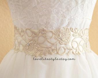 Light Gold Flower Lace with Ivory Satin Ribbon Sash, Bridal Sash ,Bridemaid Sash, Flower Girl Ivory Sash  / SH-55