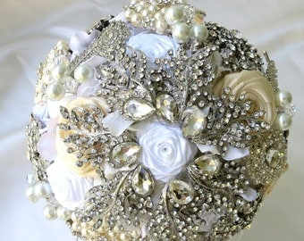 Great Gatsby Brooch Bouquet, Bridal Brooch Bouquet, Wedding Bouquets, Ivory Bouquet, Art Deco Bouquet