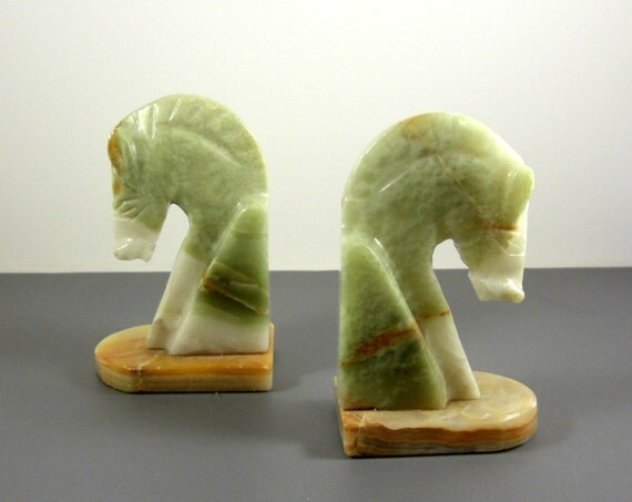 Pair Of Vintage Carved Stone Horse Bookends By