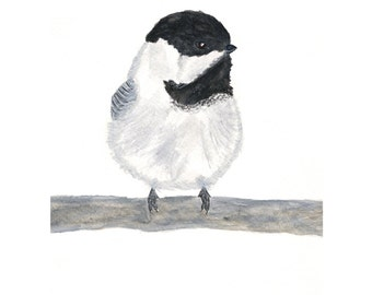 Bird art, watercolor bird, watercolor chickadee, winter bird painting, watercolor animal, bird print, black and white, chickadee, 8X10 print