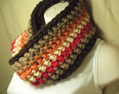 Autumn Fall Striped Cowl Infinity Circle Scarf Neckwarmer - madebymandy35