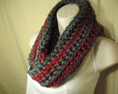Scarlet and Grey Striped OSU Cowl Infinity Circle Scarf Neckwarmer