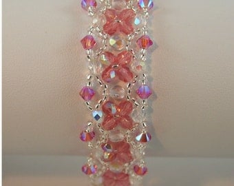 Light Rose and Crystal AB Handwoven crystal bracelet