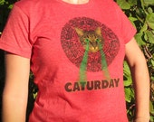 Mayan Laser Caturday Red Baby Doll Tee with neon green laser eyes