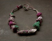 Green purple knitted necklace, OOAK cotton fiber jewelry