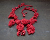 Red statement necklace, floral fiber jewelry, OOAK boho necklace