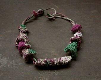 Green purple knitted necklace, OOAK cotton fiber jewelry