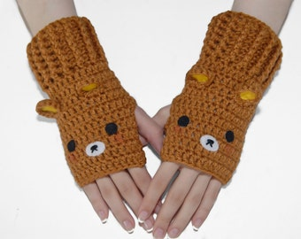 Bear Fingerless Gloves-Mittens-Women Gloves-Winter Gloves-Christmas Gift-Geek-Kawaii- Wrist Warmers