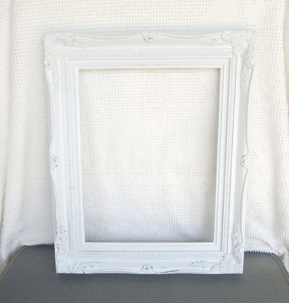 Shabby chic white large ornate open resin frame gallery - Large antique picture frames ...