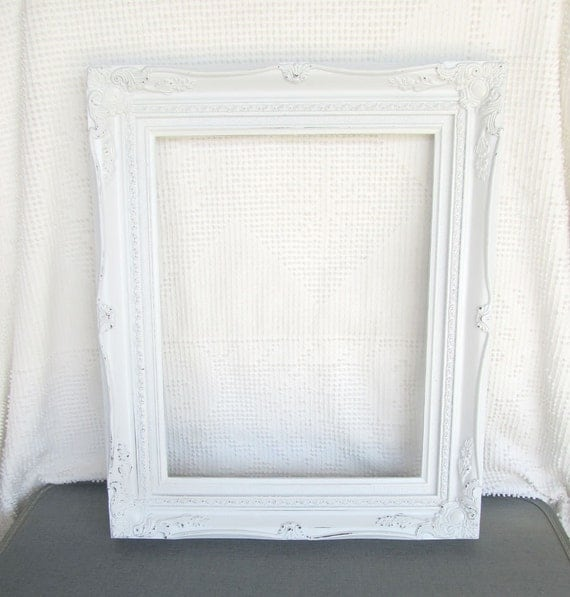 Shabby chic white large ornate open resin frame gallery - Antique white picture frames ...
