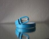 80's Aqua Snake Skin Skinny Belt size Small
