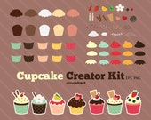 buy 2 get 1 free Cupcake Creator Kit clipart for personal and commercial use ( cute cupcakes clip art )