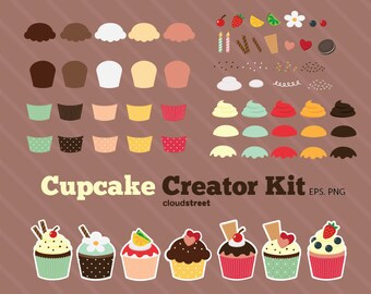20% OFF Cupcake Creator Kit clipart for personal and commercial use ( cute cupcakes clip art )