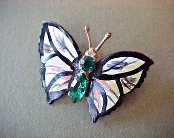 Sweet Vintage Czech Enameled and Jeweled Butterfly Brooch