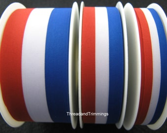 5m x Red/White/Blue Patriotic Ribbon 15mm / 25mm / 40mm