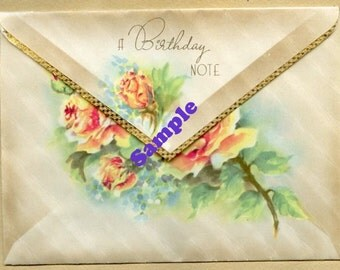 Instant Digital Download-A Birthday Note-vintage greeting card with roses