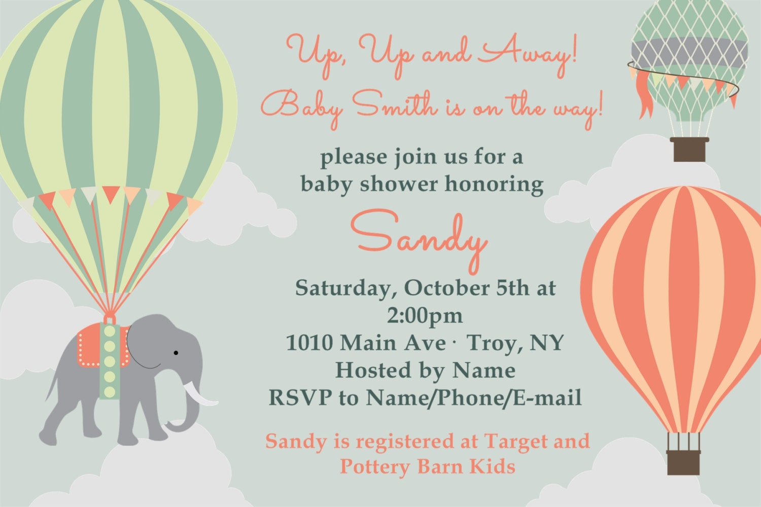 Hot Air Balloon Baby Shower Invitation: Printable 4x6 or 5x7