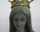 Large Hand Painted Madonna Statue with Gold Crown and Rosary