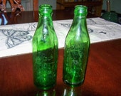 Green Bottle 8 oz marked 1/2 Cup mid century c. 1950