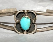 VINTAGE ZUNI CUFF Castledome Turquoise Sterling c1950