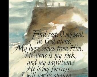 psalm 62 lighthouse calligraphy  print 11 x 14