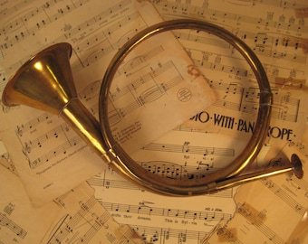 Vintage Brass Bugle For Home Decoration or as Costume Piece, SASS, Civil War, Steampunk Military, Cavalry COSPLAY