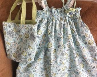 Shirred dress with matching purse.