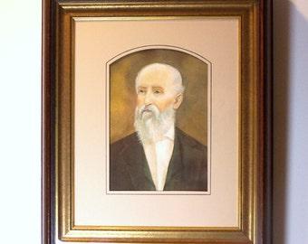 VICTORIAN PATRIARCH - 'Instant Ancestor' - Portrait of Venerable Gentleman in Antique Shadowbox Frame - Hand Decorated Acid-free Mat