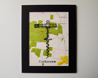 Mounted vintage wine corkscrew map print on vintage hunter valley, NSW, Australia map, 8 x 10""